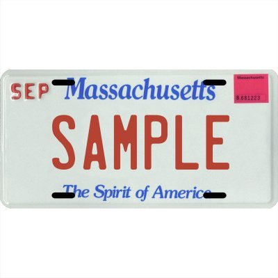 """Your Name Your State Custom Metal License Plate - Choose from All 50 States (Massachusetts, 6"""" x 12"""" Standard Thickness (.030""""))"""
