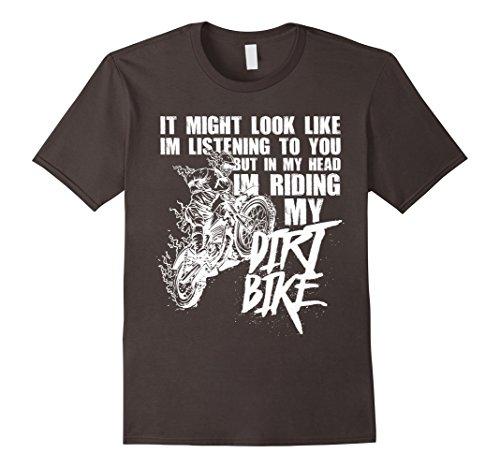 Mens In My Head I'm Riding My Dirt Bike Funny Dirt Bike T-Shirt Small Asphalt -