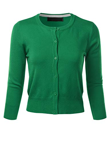 FLORIA Women's Crew Neck Button Down 3/4 Sleeve Stretchy Knit Cardigan Sweater KellyGreen L