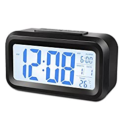Alarm Clock,Gabone Battery Operated with Large Lcd Display Temperature Display Nightlight and Snooze Smart Backlight Digital Alarm Clock (Black)