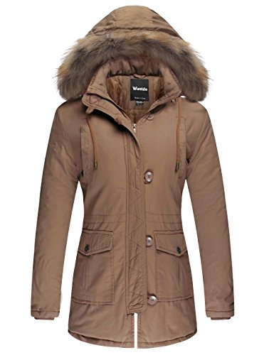 Wantdo Women's Cotton Padded Parka Coat with Removable Fur Hood (Khaki, US XL) by Wantdo