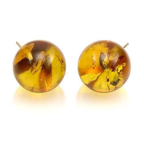 Trustmark 14K Yellow Gold 12mm Natural Baltic Honey Amber Ball Stud Post Earrings, Anya ()