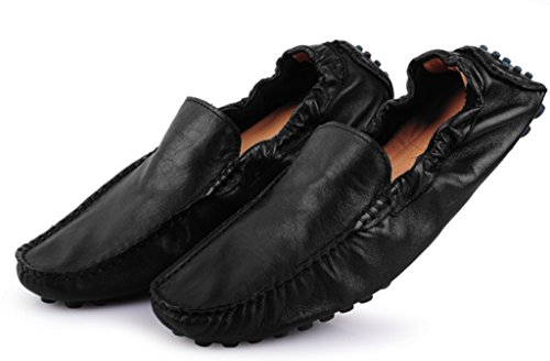 CRC Mens Casual Style Round Toe Fashion Leather Walking Training Driving Loafers Dress Shoes Black PhzYhkx