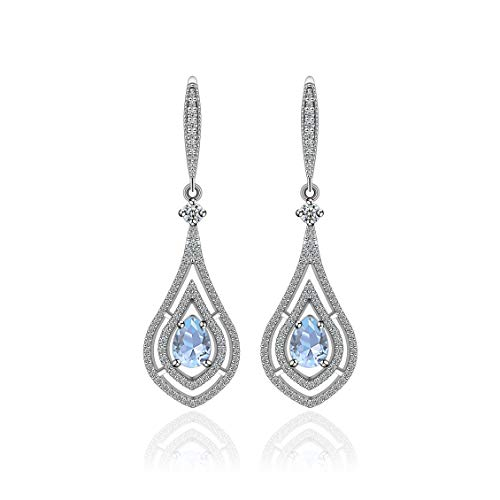AMYJANE Teardrop Dangle Earrings for Wedding - Sterling Silver Pear Shaped Aquamarine Cubic Zirconia Crystal CZ Bridal Drop Earrings for Bride Bridesmaids Party Prom Pageant March Birthstone Jewelry