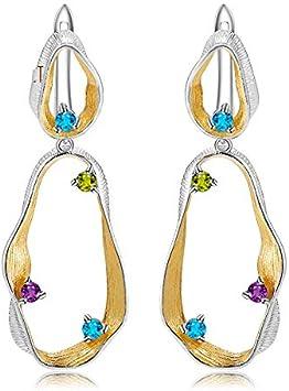 AdronQ Pendientes de Piedras Preciosas de Amatista de peridoto de topacio Natural Pendientes de Gota de Plata de Ley 925 Hechos a Mano para Mujeres Joyas