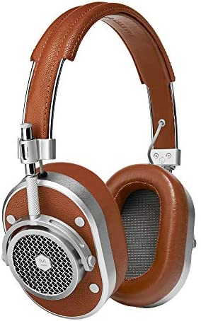 Master & Dynamic MH40 Over-Ear Headphones with Wire – Noise Isolating with Mic Recording Studio Headphones with Superior Sound, Silver Metal/Brown Leather
