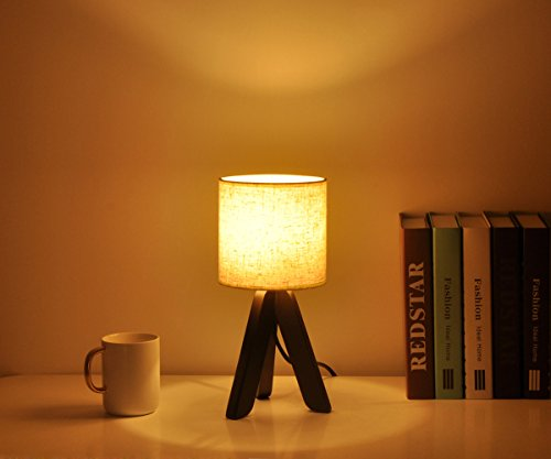 Surpars House Mini Wood Bedside Table lamp with Fabric Shade for Bedroom,Living Room,Baby Room or Office by Surpars House (Image #2)