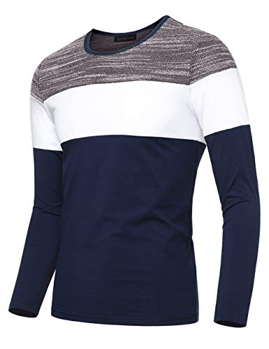 HEMOON Sweatshirts for Men, Men's Casual Slim Fit Contrast Color Long Sleeve T-Shirt Tee Medium Blue & - Easy V-neck Jersey Fit Tee
