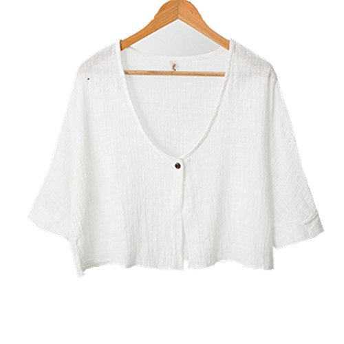 YOUMU Women Cotton Linen Cardigan Thin Jacket Batwing Sleeve Short Loose Cloak (Linen Womens Shirt Jacket)