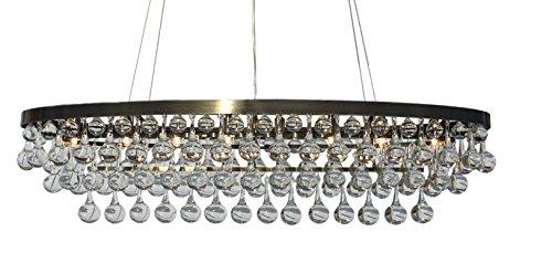 Celeste Antique Brass Oval Glass Drop Crystal Chandelier (Glass Drop Chandelier)