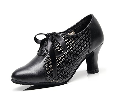 Dancing Evening Mesh Synthetic MINITOO up Heel Ladies Latin Lace Shoes Pumps 6 UK Ballroom Chunky Black Low PT5xOqxw