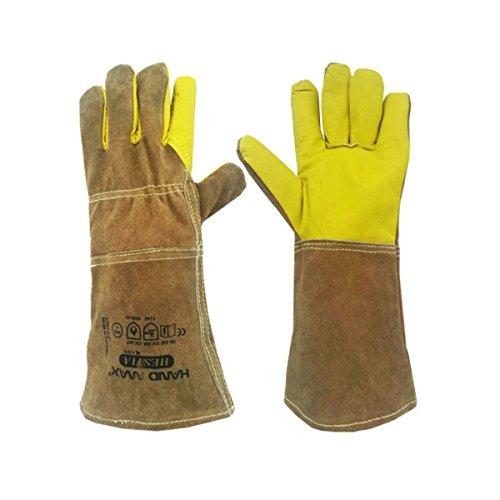 Animal Handling Gloves 36cm GAUNTLET LEATHER Kevlar DOG C...