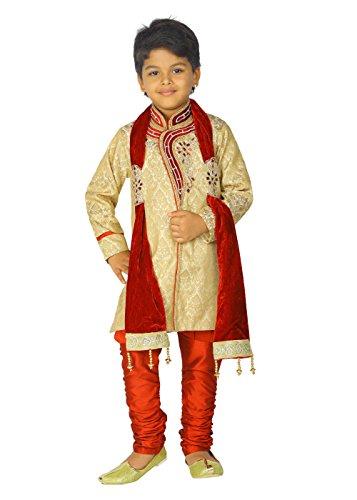 Ahhaaaa Kids Ethnic Indian Handwork Sherwani and Breeches Set With Dupatta Set for Boys by ahhaaaa