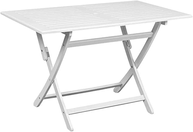 Festnight Table de Jardin Pliante en Bois Table à Manger Patio Tables à  Manger de Jardin Table à dîner d\'extérieur Blanc 120x70x75 cm