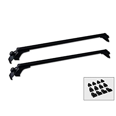 MPH Production 2Pcs 50  (127cm) Universal Fit Black Adjustable Aluminum Window Frame Roof Rack Rail Cross Bars Utility Cargo Carrier with 3 Pairs of Mounting Clamps (2 Pcs)