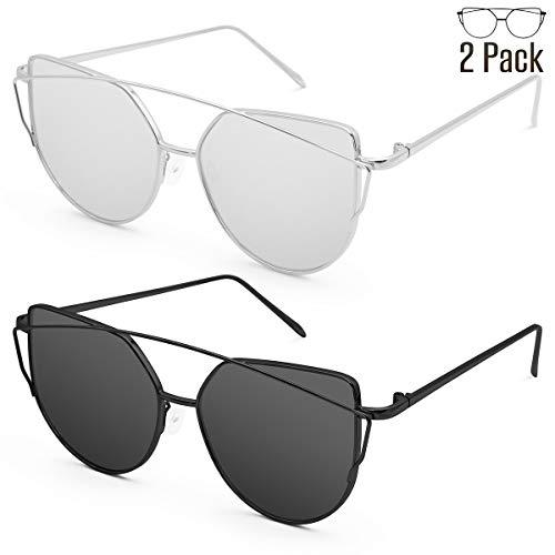 Livhò Sunglasses for Women, Cat Eye Mirrored Flat Lenses Metal Frame Sunglasses UV400 (Silver Silver + Black Gray) (Gray Mirror Sunglasses Silver)