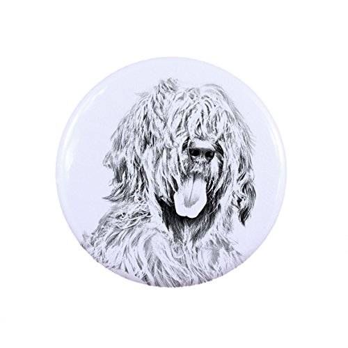 - Briard, a button, badge with a dog