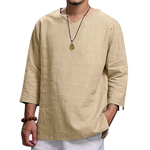 Toimothcn Men's Linen Shirts Pure Color 3/4 Sleeve O Neck Comfortable Top Blouse (Khaki,XXXL) ()