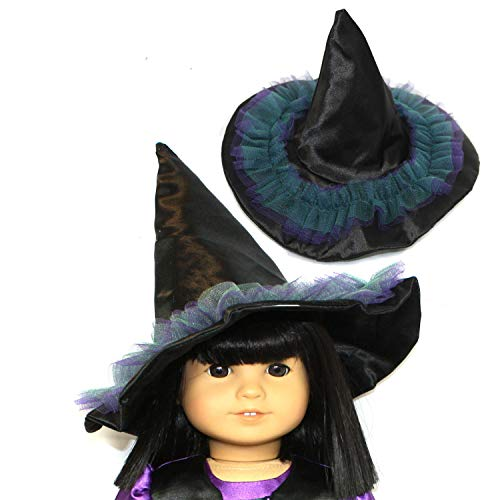 Arianna Witch Black Satin | Purple & Green Tulle Hat Fits 18 ich American Girl Dolls & More