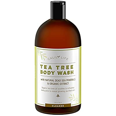 Calily Life Organic Tea Tree Oil Antibacterial Body Wash with Dead Sea Minerals, 33.8 Fl. Oz.-Extra-strength Formula - Enriched with Therapeutic Grade Oils - Combats Bacteria & Fungal Infections