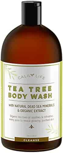 Calily Life Organic Tea Tree Oil Antibacterial Body Wash with Dead Sea Minerals, 33.8 Fl. Oz.–Extra-strength Formula – Enriched with Therapeutic Grade Oils – Combats Bacteria & Fungal Infections