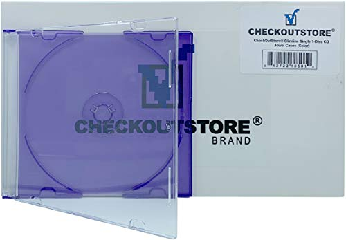 CheckOutStore (50 Slimline Single 1-Disc Color CD Jewel Cases (Purple) ()
