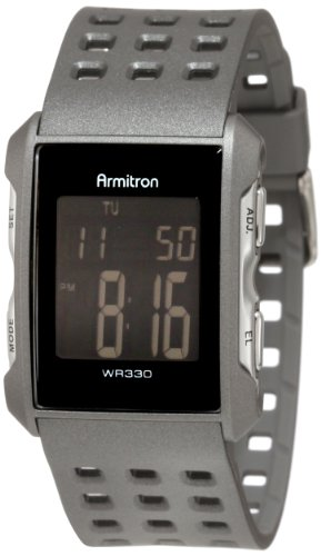 - Armitron Sport Men's 408177GRY Square Chronograph Grey Resin Digital Watch