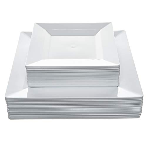 Disposable Square Plastic Plates - 60 Pack - 30 x 9.5'' Dinner and 30 x 6.5'' Salad Combo - Premium Heavy Duty- By Aya's Cutlery Kingdom by Aya's Cutlery Kingdom (Image #3)