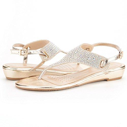 Paia Di Scarpe Da Donna Aditi Sandali Con Zeppa Bassa Aditi-oro
