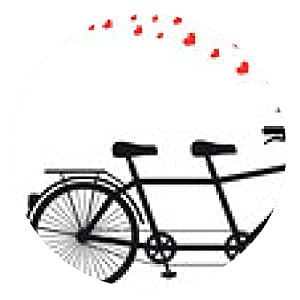 alfombrilla de ratón bicicleta tanden con corazones rojos, vector - ronda - 20cm