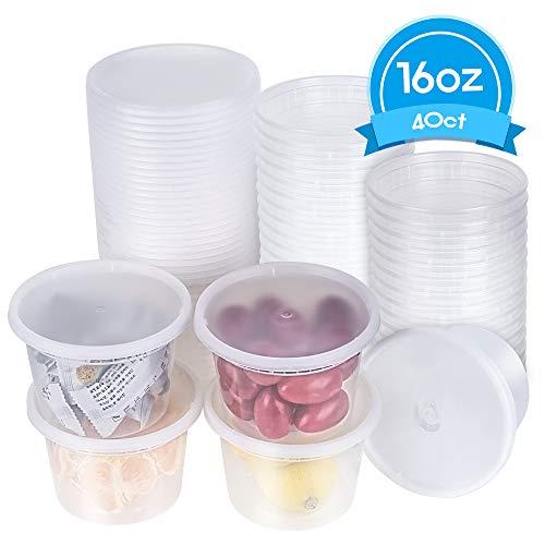 [TashiBox] 16 oz plastic food storage containers with lids - 40 sets
