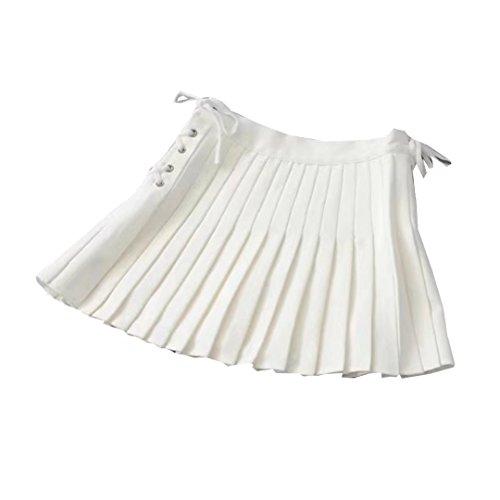 Jupe Plisse de Tennis de Femmes Minijupe vase de Ceinture lastique Uniforme Scolaire Blanc