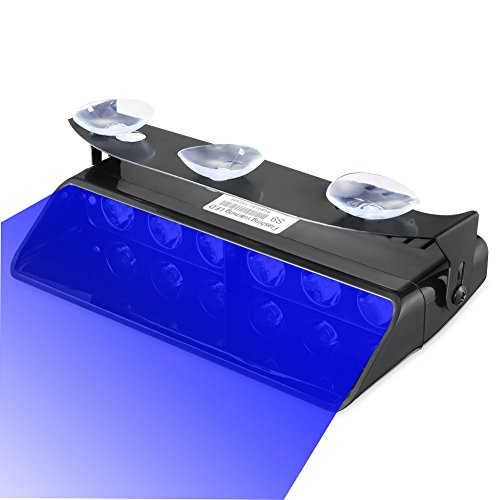 Emergency Lights, 16 Flashing Modes Bright Blue LED Warning Strobe Lighting for Vehicle Dash Windshield, Black -