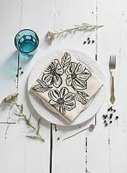 Organic Cotton Dogwood Flower Tea Towel in Black