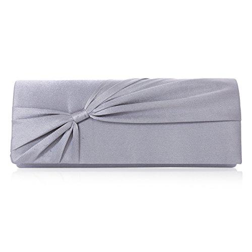 Bolso clutch Damara para mujer �?Tamaño grande y lazo de satén para boda novia noche gris