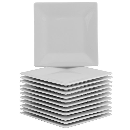 10 Strawberry Street 6SQ-12ACE-BB Party Pack Appetizer Plates, White (Plates Porcelain Square)