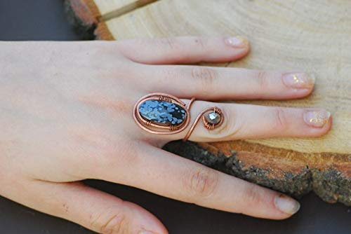 Open wire ring Copper boho ring Wire wrap ring Artisan ring Unique long ring Statement wrapped ring Original ring Spiral ring Cool ring