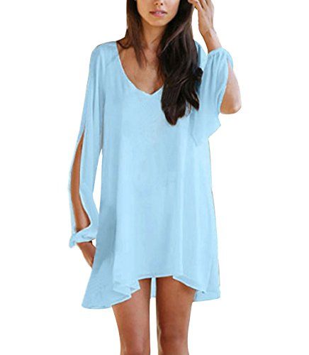 FACE Womens V neck Irregular Chiffon