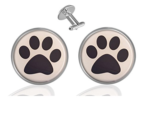 - ecowcow Dog Paw Print Custom Classic Jewelry Tuxedo Shirt Cufflinks Men's Unique Business Wedding Gifts