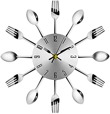 7777777 Reloj de Pared de Cocina, Sala 3D extraíble Creativo Moderno de la Cocina Cubiertos Cuchara Tenedor Reloj de Pared Espejo Tatuajes de Pared Etiqueta de la Pared decoración del hogar (Astilla):