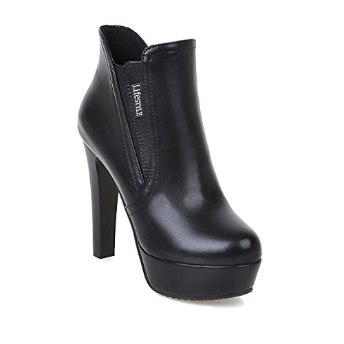 ABL09636 9 Top BalaMasa Pull B Mid Womens Platform M US Black Boots On Heels Urethane High qg7WgPwFAf