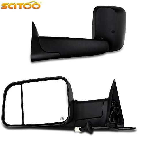 Scitoo Towing Mirrors for Dodge Ram High Performance Exterior Accessories Mirrors for 1998-2002 Ram 1500 Ram 2500 Ram 3500 with Power Controlling Heated Manual Flipping up and Telescoping Features