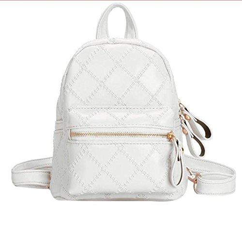 Dos Dos Sacs À Teenage Bagpack À En Carreaux Féminin Meaeo White School Mini Sac Femmes Girls Géométrique Cuir À Rose xaZ0v