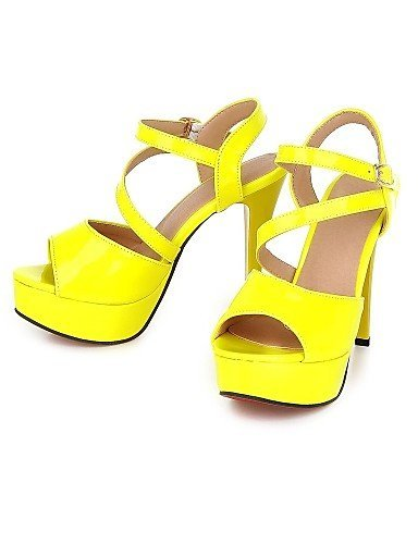 ShangYi Womens Shoes Stiletto Heel Peep Toe Sandals Office & Career/Party & Evening/Dress Black/Yellow/Pink/Red/White Black