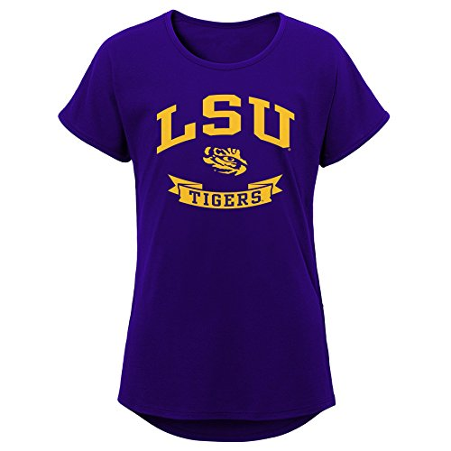 - NCAA LSU Tigers Youth Girls Short Sleeve Dolman Tee, Regal Purple, Youth Large(14)