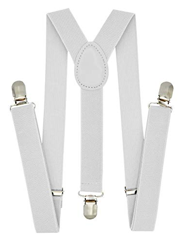 Trilece Kids Boys Suspenders - Girls Toddler Baby - Adjustable Elastic Y Back and Strong Clips - Various Solid Colors (White) -