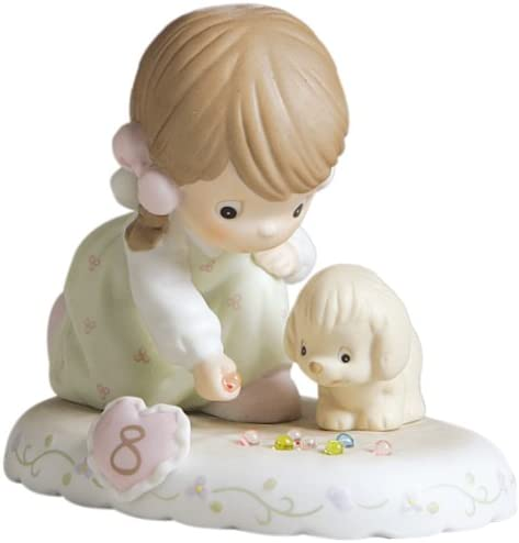 Precious Moments Brunette Girl with Puppies and Marbles Age 8 Figurine