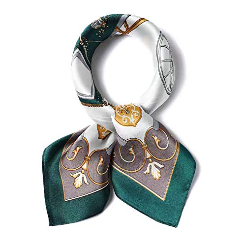 100% Pure Mulberry Silk Square Scarf for Hair-27''x27''- Soft Breathable Lightweight Satin Silk Neckerchief Headscarf (Blackish Green Carriage)