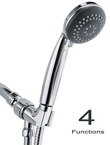 Wassern Handheld Shower Head, High Pressure Rainfull Massage Spa Flexible 60'' Stainless Steel Hose Angle Adjustable Bracket 4setting 3'' - Pause Handheld Shower Control