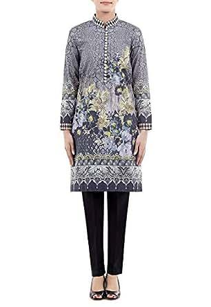 Cross-stitch Multi Color Cotton High Neck Blouse For Women